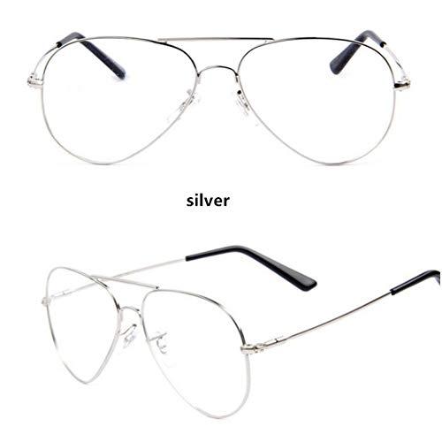 KCJKXC Klassische Klare Gläser Gold Rahmen Vintage Sonnenbrille Frauen Männer Optische Uv400 Aviation Brille Transparent Klar Gold Sonnenbrille