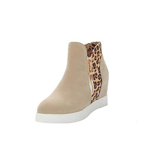 Y2Y Studio Femmes Bottines Courtes Plateforme Confortables Talons Compensés 8.5cm Leopard La Modeuse Zip Bout Rond Bottes Femmes de Neige Bottin Femmes Hiver Winter Shoes