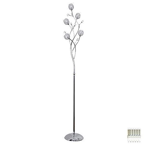 Lampe de plancher, feuilles, arbre, design, salon, grille métallique, verre, lampe, set, incl.LED ampoule