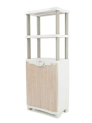 Plastiken Medio Armario con estanteria SPACE SAVER 70cm con 2 estantes metálicos con puertas imitación...