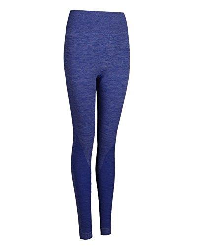 Donna Sport Full Length Leggings Elastico Attraverso Fitness Yoga Jogging Pantaloni Blu Zaffiro
