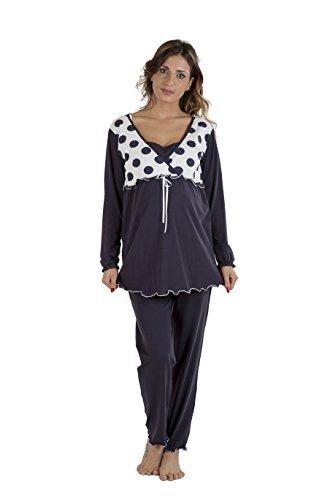Premamy - pigiama per premaman, modello con fiocco, cotone bielastico, pre-post parto - blu - v (l)
