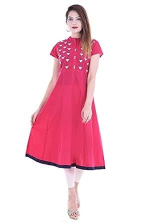 RAJMANDIRFABRICS Women's Cotton Kurti (PK1015492-M_Pink_Medium)