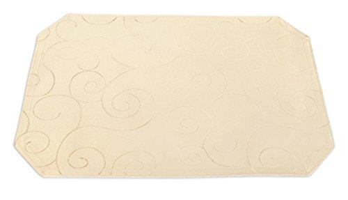 Damast Und Weiß Schwarz Tischsets (Platzset 35x50 cm Tischset Struktur damast circle bügelfrei fleckenabweisend Platzdeckchen #1352 creme sand)