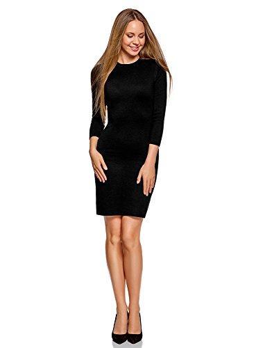 oodji Ultra Damen Kleid Basic mit 3/4-Ärmeln, Schwarz, DE 42 / EU 44 / XL
