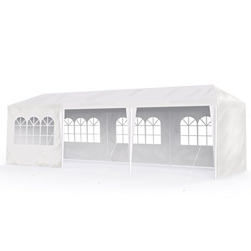 Sekey - gazebo da giardino, 3 x 9 m, impermeabile, regolabile, per giardini, feste, matrimoni, picnic, uv30+, pareti laterali, colore: bianco