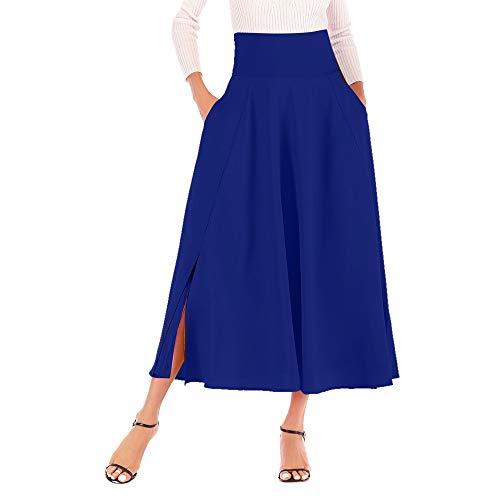 IMJONO Röcke Damen lang Sommer, Frauen Hohe Taille Plissee A Line Langer Rock Front Slit Belted Maxirock BU XXL(Blau,XX-Large) Belted Silk Dress