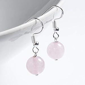 Ohrringe LOVE versilbert Rosenquarz rosa hängend Naturstein Halbedelstein antik hängend handmade einzigartig Damen Mädchen Schmuck Design modern filigran Muster Jugendstil