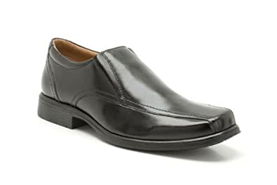 Clarks Mens Smart Hold Tough Leather Shoes In Black Standard Fit Size 8
