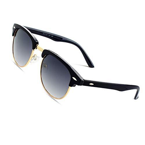 CGID MJ56 clubma Retro Vintage Sonnenbrille im angesagte 60er Browline-Style mit markantem Halbrahmen Sonnenbrille,Gold-Violett