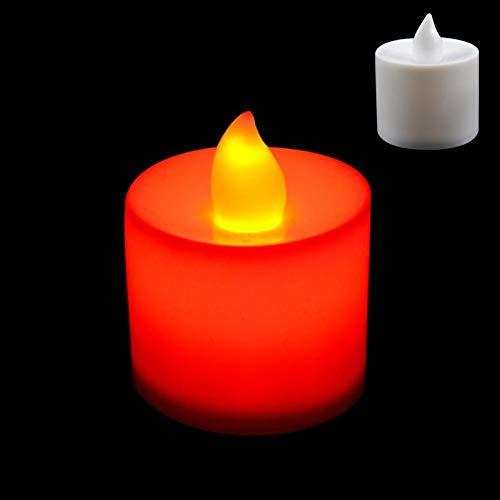 SparY LED Kerzen,LED Teelichter Kerzen Batteriebetrieben Kerzen Geruchlos Flammenlos Teelicht Bright Flackernd für Halloween Weihnachten, Festival, Party Dekoration - Rot, Free Size (Flammenlose Kerzen Geruchlos)