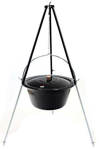 Grillplanet Gulaschkessel Set 22 Liter emailliert mit Deckel, Teleskopgestell 130 cm