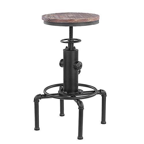 ZBYY Barstuhl Hohenverstellbar Drehbar Holzsitz Metallrahmen-Fußstütze Für Home for Breakfast Bar Küche Und Home Barhocker