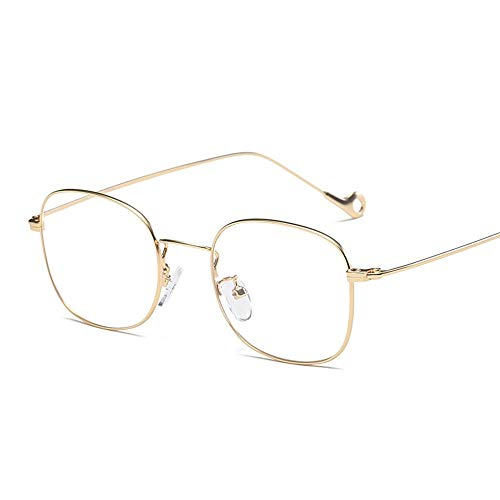 Unisex-Sonnenbrille - UV400-Schutz Männer und Frauen mit der gleichen quadratischen Brille Frame Flat Mirror Time Metal Glasses (Color : Gold, Size : Free Size)