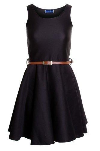 Saphir Damen Smart Skater-gürtel Plissiert Schlaghose Sexy Damen Party Kurzes Kleid 8-14 Schwarz
