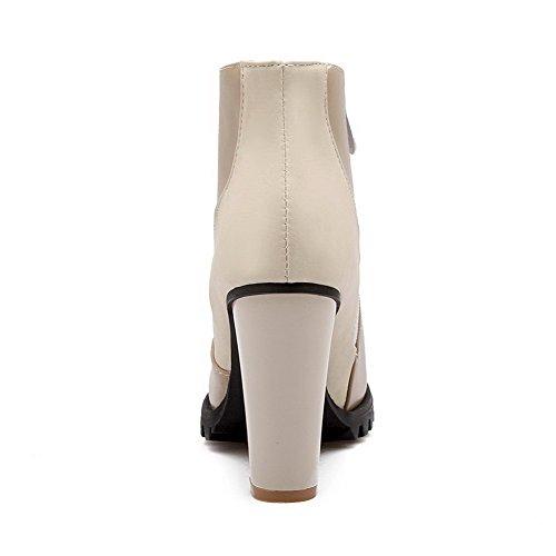 AllhqFashion Damen Niedrig-Spitze Reißverschluss Blend-Materialien Stiefel Aprikosen Farbe