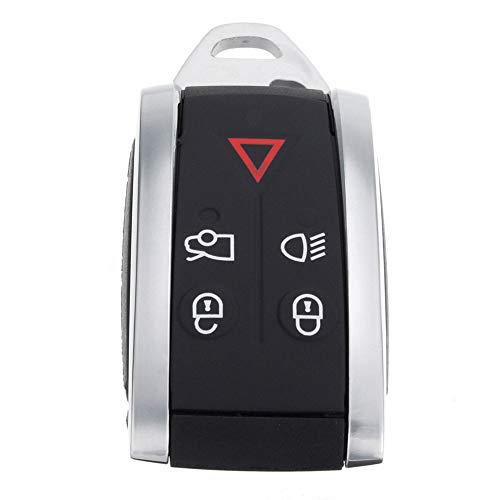 YUnnuopromi 5 Tasten Keyless Schlüssel-FOB-Remote-Case-Shell mit ungeschnittenes Klinge für Jaguar XF XK Schwarz + Silber
