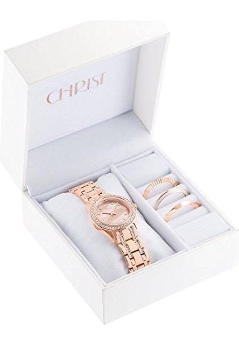 CHRIST times Damen-Armbanduhr Analog Quarz One Size, perlmutt, rosé - 5