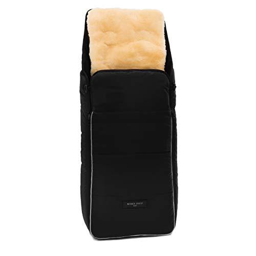 Lammfell Kinderwagen-Fußsack CORTINA von WERNER CHRIST BABY - Thermo Winterfußsack mit herausnehmbarem, echtem Fell, als Einlage für Buggy verwendbar (2-in-1) in schwarz