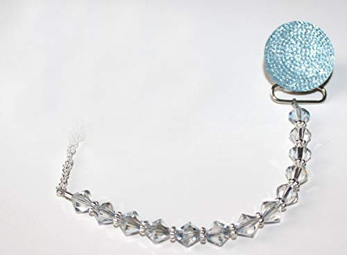 e146c8756 Crystal Dream Luxury Blue Swarovski Crystal Beads and Blue Glitter Baby Boy  Sparkly Gift Pacifier Clip