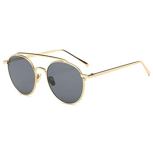 NUVOLA Sonnenbrille Brille UV Damen Herren Fashion Rund Linse grau Rahmen gold gutes Geschenk Valentinstag