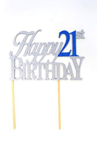 All About Details Tortenaufsatz Happy 21st Birthday, Glitzeraufsatz, Party-Dekoration, Foto-Requisiten, 1 Stück silber/blau