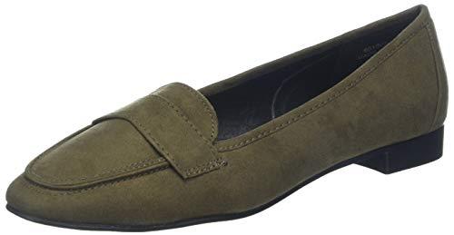 New Look Wide Foot Lorna Bailarinas con punta cerrada Mujer, Verde Dark Khaki 34, 38 EU 5 UK