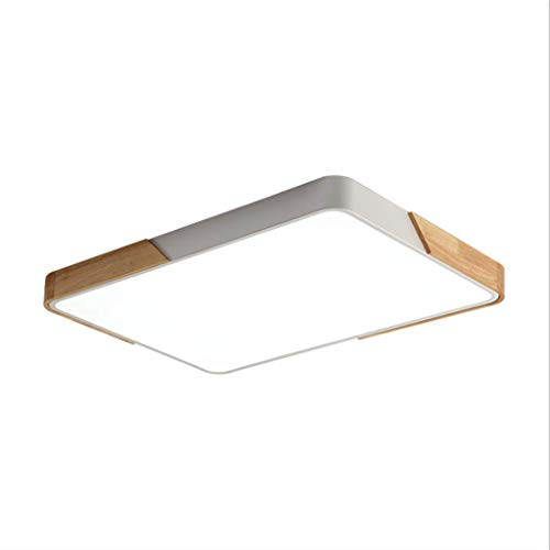 LED Ceiling Light Rectangle Dimmable with Remote Control LED Hall Lamp Kitchen Lamp Living Room Bedroom Office (Wood & Metal) [Energy Class A ]