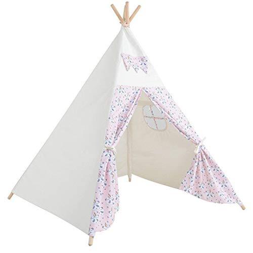 JINGJIJNG Zelt für Kinder Innen und außen Prinzessin Spielhaus Drucken Kinderzelt Kindertheater Spielzelt Zelt-Spiel,Pink