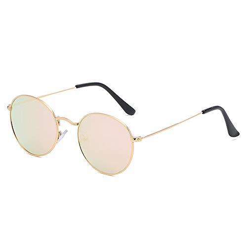 Dilunsizrf Polarized Retro Womens Metall Sonnenbrille Runde Brille Metallrahmen UV400 Sonnenbrille,Gold/pink
