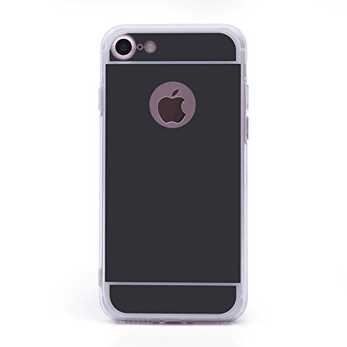 iProtect Apple iPhone 7, iPhone 8 biegsame TPU Soft Case Hülle Glitzer Pailletten Design in Silber Spiegel Softcase schwarz iPh7