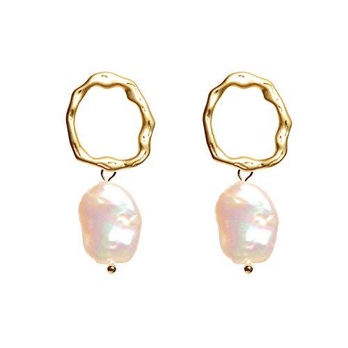 Ohrringe Lady, S925 Silbernadel, neues Element, Barock, unregelmäßige Perle, Metall, matte Textur,...