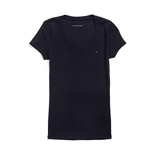 Tommy Hilfiger Damen T-Shirt, Women\'s Signature T-Shirt, Dunkelblau, Size: Small