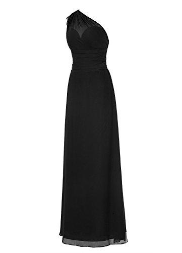 Dresstells, Une épaule robe de soirée mousseline, robe longue de cérémonie, robe longueur ras du sol de demoiselle d'honneur Ivoire
