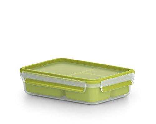 Emsa Lunch- und Snackbox mit 3 praktischen Einsätzen und Deckel, Volumen: 1,2 Liter, Transparent/Grün, Clip & Go, 518100