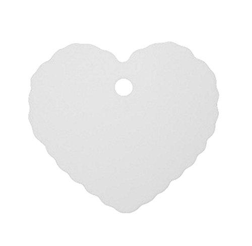 CAOLATOR 100 Stück Spitze Rund Kleines Etikett Kraftpapier Tag Etiketten Kraftpapier Etiketten Tags Geschenk Anhänge Papieranhänger Hängeetiketten kraftpapier 6.5 * 5cm (Herz Weiß)
