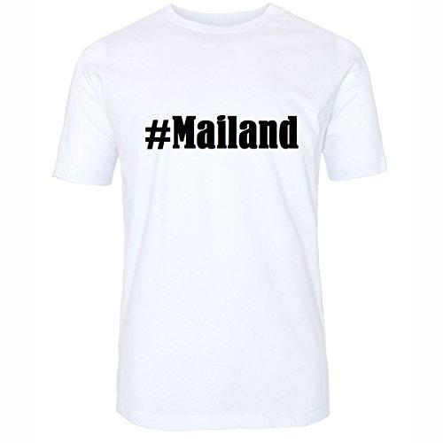 T-Shirt #Mailand Hashtag Raute für Damen Herren und Kinder ... in den Farben Schwarz und Weiss Weiß
