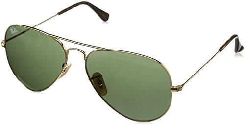 Ray-ban rb3025 aviator occhiali da sole unisex adulto, oro (gold), 58