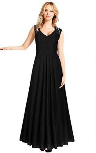 LvRao Damen Spitze V-Ausschnitt Plissee Kleid Ärmellos Maxi Party Kleid Schwarz