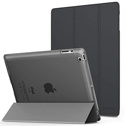MoKo Hülle für iPad 2/3 / 4 - PU Leder Tasche Schale Smart Case mit Translucent Rücken Deckel, mit Auto Schlaf/Wach Funktion und Standfunktion für Apple iPad 2/3 / 4 9.7 Zoll Tablet-PC, Space Grau