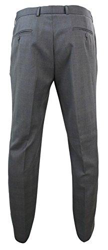 Pantalon homme formel gris clair carreaux bleu style classique vintage rétro chic Gris