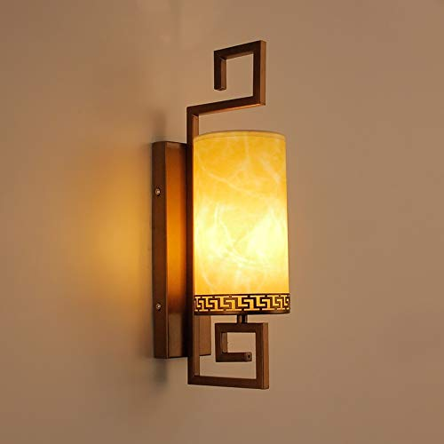 Applique Murale Traditionnelle Orientale Zen - Appliques Murales avec Abat-Jour Parchemin, Lampes Murales à Douille E27 Pour Salon, Chevet de Chambre, Décoration d'Hôtel, Éclairage de Couloir d'Escali