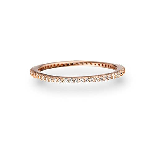 Glanzstücke München Damen-Ring Sterling Silber rosévergoldet Zirkonia weiß - Memory Ring Stapel-Ring filigran