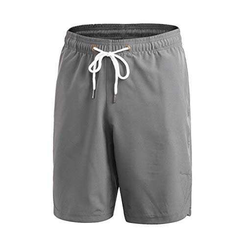 Shorts/Skxinn Herren Badehose Freizeit Short Einfarbig Kurze Hose Schnelltrocknend Badeshorts Surfshorts Casual Strand-Shorts Lose Sport Slim Urlaub Pants S-XXL (Grau,Large)