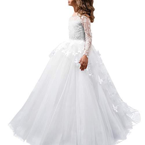 Kleider für Mädchen Blumenmädchen Hochzeitskleid Lange Ärmel Schmetterling Festzug Spitze Tüll mit Appliques erste Kommunionskleider Weihnachten Karneval Abendkleid 8-9 Jahre ()