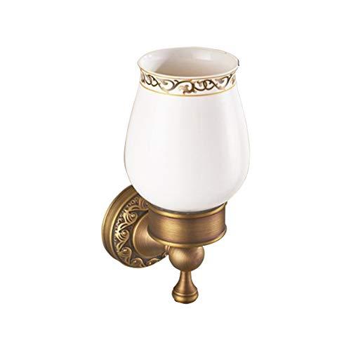 MALLTY Badezimmer-Toiletten-keramische Schale mit Halter-Wand-Berg Weinlese-gebürstetem Kupfer (Becherhalter und Cup, einzelne und doppelte Schalen) (Color : Metallic, Size : 17.5 * 6.3cm) (Wand-berg-cup)