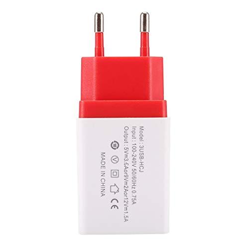 USB Ladegerät,5V 2A Netzteil, AC 3 Port Handy Ladekopf,EU Stecker Wandladegerät für Smartphones, Samsung Galaxy, HTC, Huawei, LG G5, Nexus, Nokia,iPhone (Rot) -