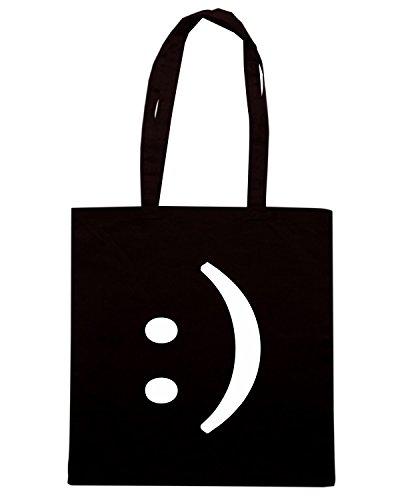 T-Shirtshock - Borsa Shopping OLDENG00682 text smiley face Nero