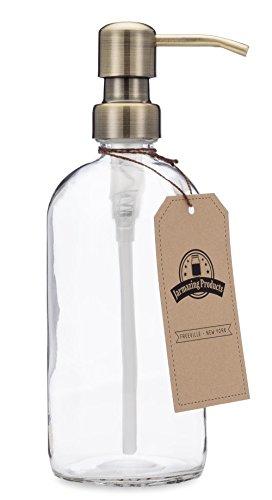 Jarmazing produits en verre transparent à bière Pot Distributeur de savon et de lotion avec pompe de métal - cuivré
