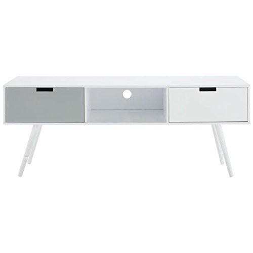 NOOR Meuble TV scandinave laqué blanc et gris mat - L 134 cm